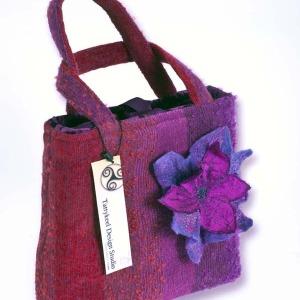 Plum & Cerise Striped Handbag