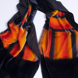 Large Hand Painted Black with shades of orange Silk Velvet Wrap