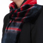 Hand Painted Red & Black Double Silk Velvet Interlined Tie Scarf