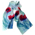 Long Hand Painted Double Sided Twill Silk Scarf