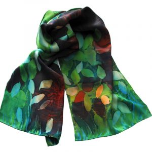 Batik Hand Painted Satin Silk Scarf