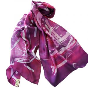 Long Batik Twill Silk Scarf