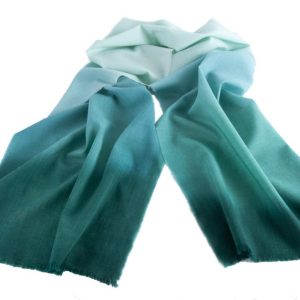 Woollen Hand-Painted Long Scarf in Tones of Teal Green Colours