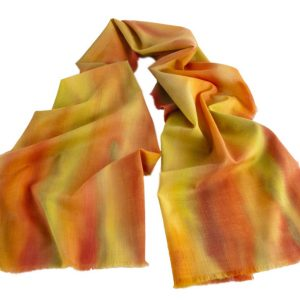 Hand Painted Wool Scarf in Autumnal Colour Tones