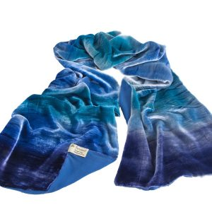 Large Silk Velvet Wrap in shades of blues, Turquiose and pale blue