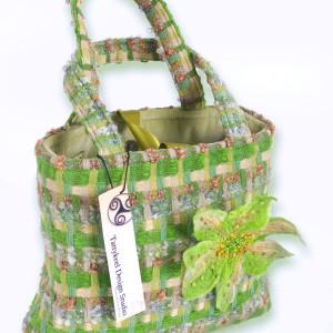 Irish Woven Multi Coloured Green Check Handbag