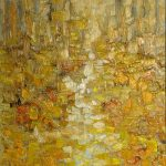 Oil Painting of Autumn Leaves on Linen Canvas