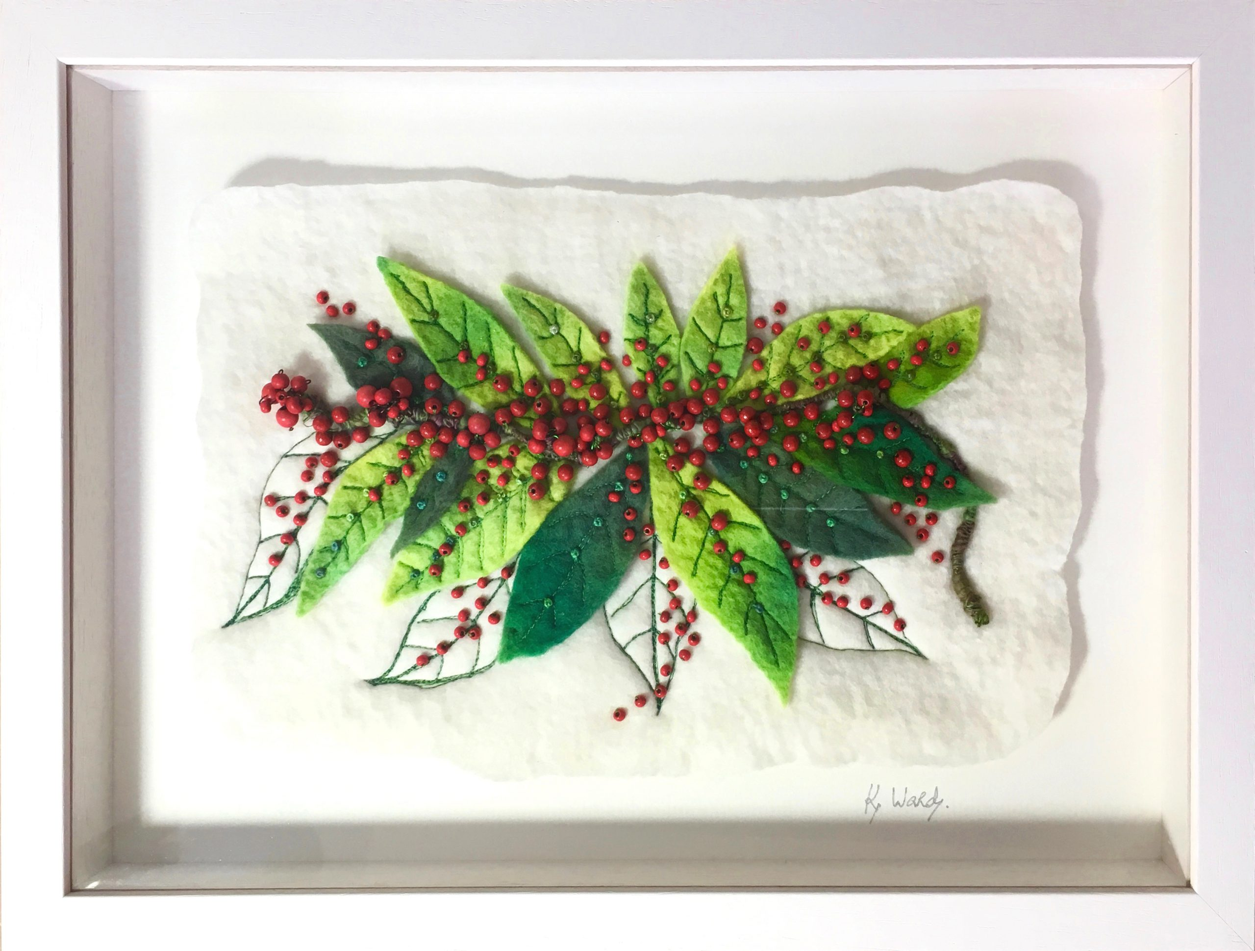 Hand Painted and Hand Felted Picture of Leaves and Berries from the Garden