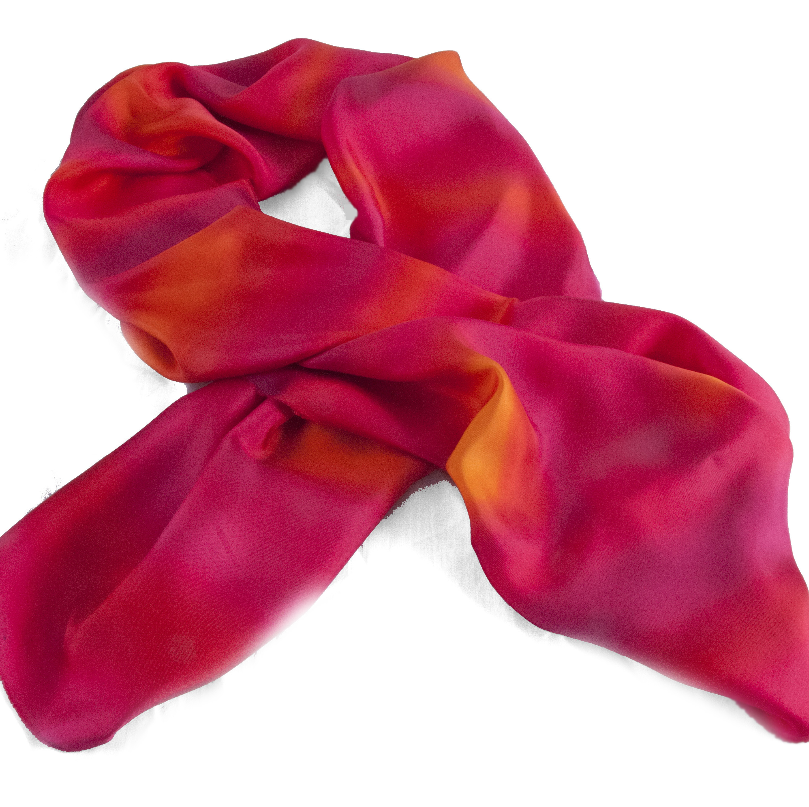 Long Hand painted Twill Silk Scarf in shades of reds, oranges and cerise