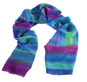 Long Hand painted Crêpe de Chine Silk Scarf in shades of blues, purples, pinks, greens and turquoise