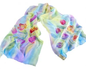 Long Hand Painted Tulips Design on Crêpe Georgette Silk Scarf