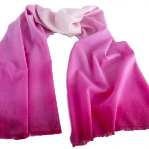 Woollen Hand-Painted Long Scarf in Tones of Cerise Pink Colours