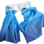 Woollen Hand-Painted Long Scarf in Shaded Tones of Blue Colours