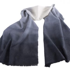 Woollen Hand-Painted Long Scarf in Tones of Grey Colours