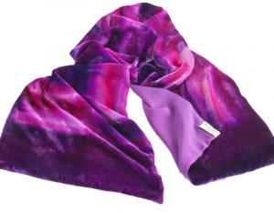 Long Silk Velvet Wrap in Shades of Plum, Cerise Colours in an Abstract Design Lined with Crepe Georgette