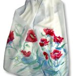 Long Hand painted Poppies Design Crêpe de Chine Silk Scarf