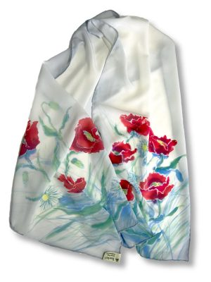 Long Hand painted Poppies Design Crêpe de Chine Silk Scarf