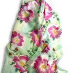Long Hand Painted Rose Design Crêpe Georgette Silk Scarf