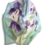 Long Hand Painted Iris Design Crêpe Georgette Silk Scarf
