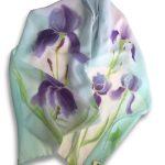 Long Hand Painted Iris Design Crêpe Georgette Silk Scarf