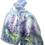 Long Hand Painted Delphiniums Design Crêpe Georgette Silk Scarf
