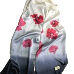 Long Hand Painted Poppies Design on Silk Satin Scarf